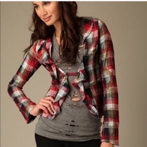 Free People Red Plaid Cascading Ruffle Blazer